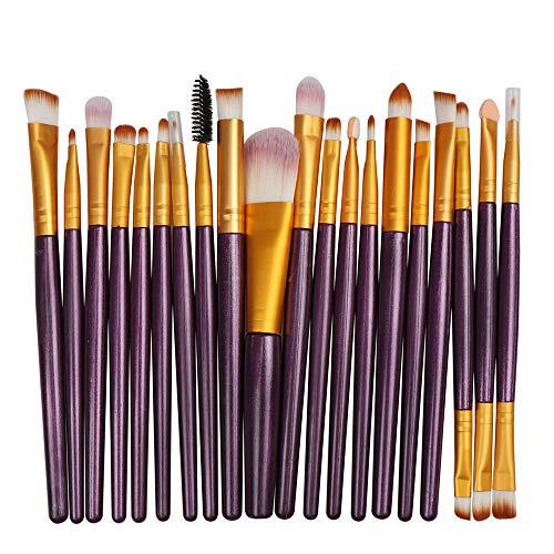 Multifonctionnel 20 Pack Set De Puff De Maquillage Ensemble Foundation Pinceau De Maquillage Pour Les Yeux Brosse À Lèvres Pour Les Yeux Ensemble Pourpre Tige Or Tube