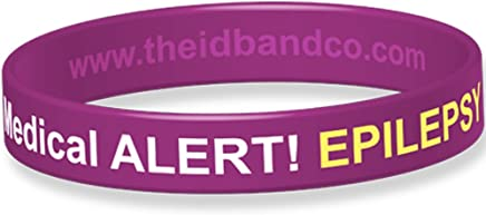 The ID Band Company Epilepsy Allergy Medical Alert Silicone Wristband, Small, Purple, 1 Units