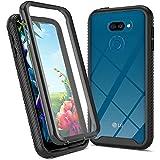 Mkej Funda LG K40S [Protector de Pantalla Incorporado] 360 Grados Case Antigolpes Completa Silicona Transparente Carcasa para LG K40S - Negro