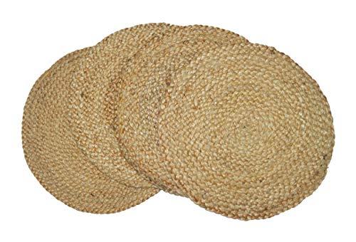 CHARDIN HOME Juego de 4 manteles de mesa de yute trenzado redondo de 38 cm, de yute natural para
