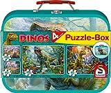 Schmidt Spiele 56495 Dinosaurier, 4 Kinderpuzzle im Metallkoffer, 2x60 und 2x100 Teile