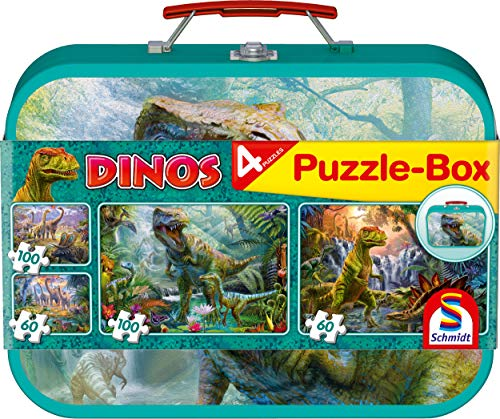 Schmidt spel puzzel 56495 dinosaurus, puzzeldoos in metalen koffer, 2x60 en 2x100 delen kinderpuzzel, kleurrijk