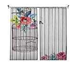 Cortina plisada de acuarela de ahorro de energía, bosquejo de un pájaro en una jaula vacía con flores coloridas, para dormitorio, jardín de infantes, sala de estar, 72 x 63 pulgadas, marrón multicolor