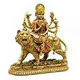 Hindu Goddess Durga Statue - Indian Eastern Enlightenment Durga On Tiger Figurines Decorative - India God Murti Idol Home Temple Puja Sculpture Mandir Pooja Gifts Items