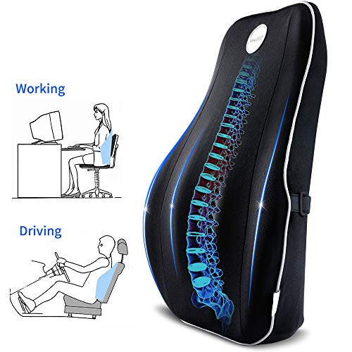 Villsure Lumbar Support Pillow Memory Foam Back Cushion for Lower Back Pain Relief with Adjustable Elastic Belt Ergonomic Lumbar Pillow with Breathable Cover for Office Chair/Car Seat/Wheelchair