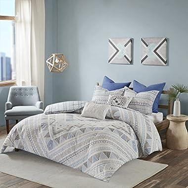 Urban Habitat Rochelle Teen Boys Duvet Cover King/Cal King Size - Blue , Geometric – 7 Piece Teen Boy Bedding – 100% Cotton Lightweight Duvet Cover Set