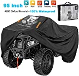 ClawsCover 95 Inch ATV Quad Covers Waterproof 420D Oxford Cloth 4 Wheelers ATV Accessories Fadeless Windproof Outdoor All Weather Protection Cover for Polaris Can am Kawasaki and More