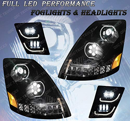 QSC Full LED Performance Black Headlights Fog Light LH RH Set QSC Full LED Performance Headlights Pair Sequential Turn Signals Compatible with Volvo VNL 04-17 Volvo VNL 04-17