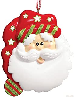 Personalized Santa Face Christmas Tree Ornament 2019 - Cotton White Beard Papa Claus Red Sleep Hat Star Tradition Baby's Neutral Nursery 1st Visit Grand-Kid Son Daughter Gift - Free Customization