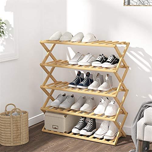 NNDQ Faltbarer 5-stufiger mehrstufiger Bambus-Schuhschrank, freistehender Schuhregal-Aufbewahrungsorganisator, Schränke und Organizer für den Eingangsbereich