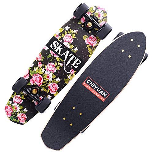 WHOJS Skate Longboard Cruiser Skate Principiante Rueda de PU de Alta Elasticidad y ABEC-11. Tabla de Surf de Niño y Niña Cubierta de Arce Capacidad de Carga 330 Lbs 68x18cm 【Selección