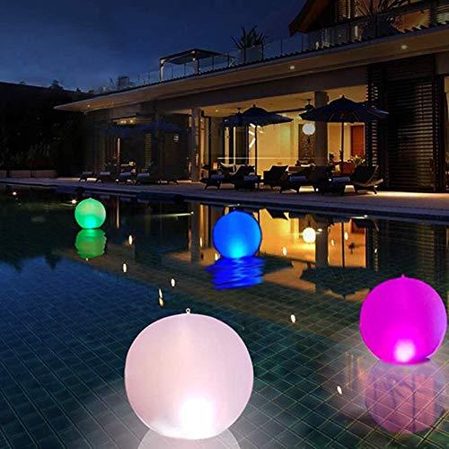 Lámpara solar hinchable para exteriores, 14 pulgadas, bola LED, luz nocturna brillante con alimentación de CC, cambio de color, decoración para terraza, camino, jardín,playa, patio, césped,2 unidades