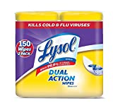 Lysol Dual Action Disinfecting Wipes w. Scrubbing Texture, 150ct (2X75ct) (2 Pack (150 Count))