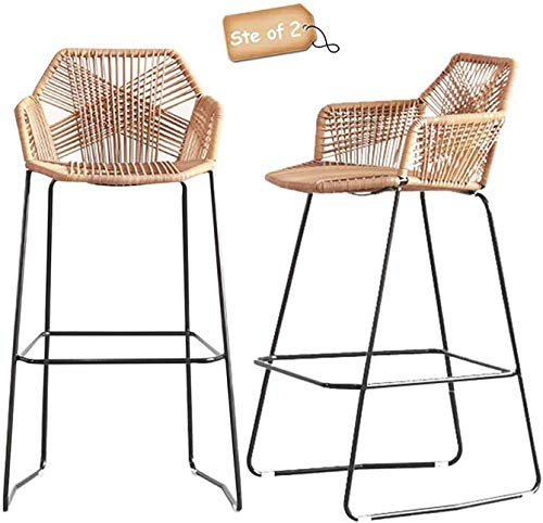 Bar Stools Rattan Set Of 2 High Table And Outdoor Garden Chair Coffee Front Desk Stool Rattan Leisure High Chair (75cm) (Size : 75cm)