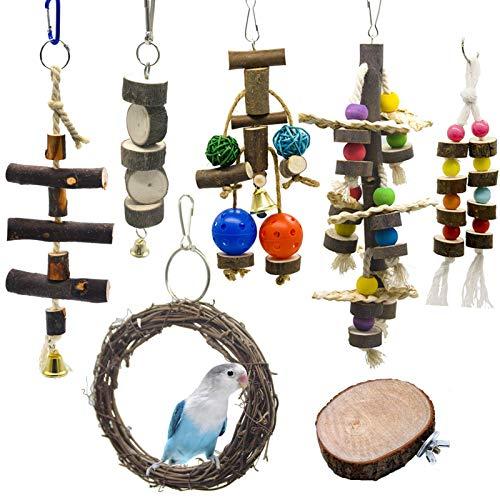 Chikanb 7 Stück Papageienschaukel Spielzeug, Papageienspielzeug Holz groß, Vögel Spielzeug Holz Sitzstangen Plattform, Colorful Sittich Glocken Spielzeug für Vogelkäfig Set, Wellensittich, Myna