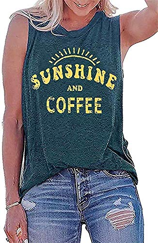 Sunshine and Coffee Tank Top T Shirt Women's Funny Letter Pattern Graphic Print Cami Tank Summer Vacation Loose Tunic Shirts Gym Running Sleeveless Shirt Tee Top