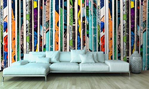 Fotomural Papel Pintado Pared Cómic Líneas verticales | Fotomural para paredes | Mural | Papel Pintado | Varias Medidas 100 x 70 cm | Decoración comedores, salones, habitaciones...