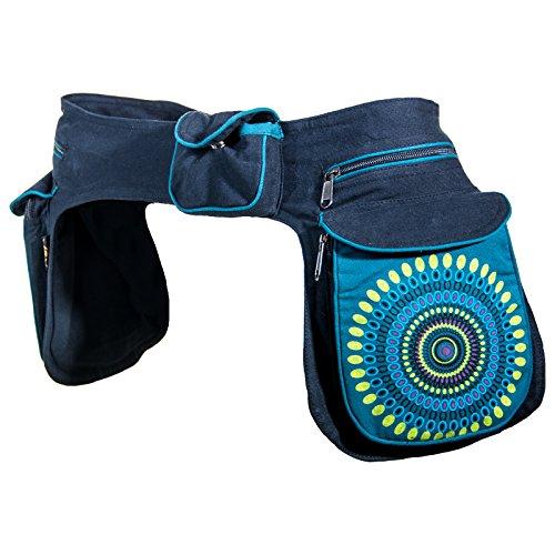 KUNST UND MAGIE Unisex doppel Bauchtasche Sidebag Gürteltasche Festivaltasche, Farbe:Petrol
