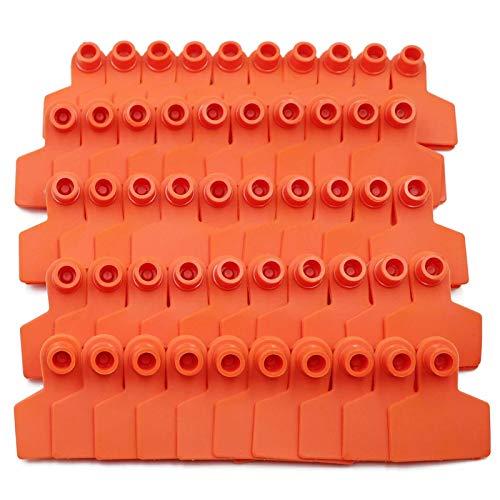 Farm & Ranch Lot de 100 étiquettes d'identification vierges en plastique TPU pour oreille de cochon, porcinet jaune, bleu (orange)
