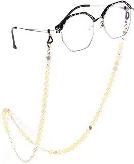 Yienate Bohemia Chaîne de lunettes pour femme avec perles et paillettes Accessoires de lunettes – Support de sangle de lun...