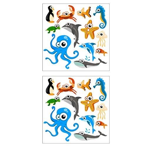 VOSAREA 2Pcs Oceano Animale della Parete della Decalcomania del Fumetto Under The Sea Marine Tema di Vita Autoadesivo Smontabile della Parete Creatura del Mare di Arte della Parete Buccia