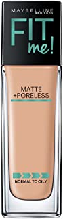 Maybelline Fit Me Matte + Poreless Liquid Foundation Makeup, Natural Beige, 1 fl. oz. Oil-Free...