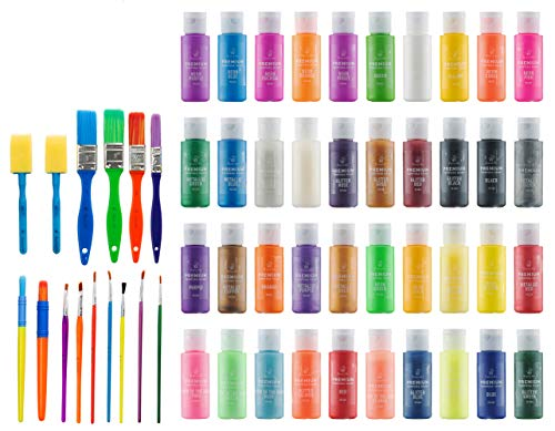Kids Tempera Paint Set   Value Pack Includes 40 Washable Non-Toxic Colorful Paints (2oz bottles) & 15 Brushes   Metallic, Neon, Glow In The Dark, Glitter Paints   Paint For Arts & Crafts, Fun Projects