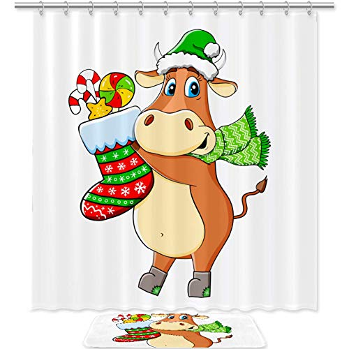 TIZORAX Green Hat Scarf Bull Holds Socket with Candies Bath Shower Curtain Set with Non Slip Bathroom Rugs Floor Mat Home Decoration
