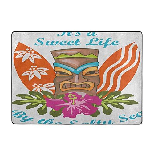 Tiki Bar - Alfombras de área suave para dormitorio, Sweet Life by The Salty Sea Text con figura Tiki y estampado de flores de hibisco, 3 x 5 pies decoración del hogar alfombras para suelo