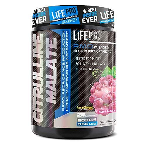 Life Pro Citrulina Malato 300g | Suplemento con Citrulina y Malato, Mejora Rendimiento Deportivo, Facilita Crecimiento Muscular y Mejora Resistencia, Sabor Frutos Rojos