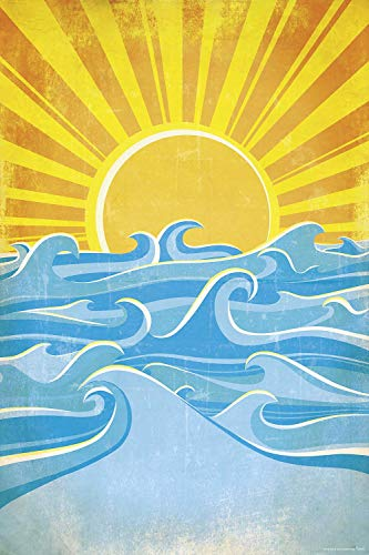 Close Up Sea Waves and Yellow Sun Poster - Premium Qualität 170gr./m², glänzend - 61x91,5 cm