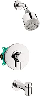 hansgrohe Clubmaster Complete Shower and Bathtub System Shower Set Modern 3-Spray Full, Pulsating Massage, and Intense Tur...