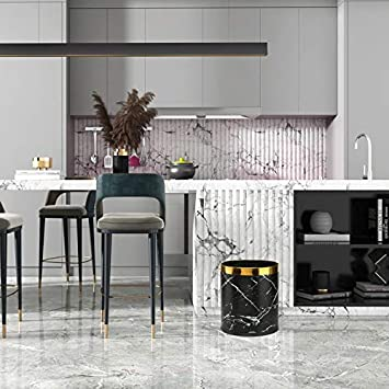 Mable Black Storage Bin for Bathroom PU Leather Trash Cans Waste Paper Basket Office and High Class Hotel Living Room