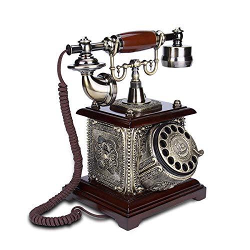 LDDZB Wired Retro Solid Wood Teléfono Vintage Antiguo Dial Rotary Teléfono Decoración de Oficina en casa