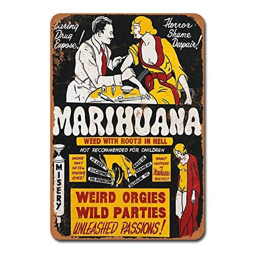 1936 Marihuana Weed With Roots In Hell Vintage Retro Letrero Metal Decoración...