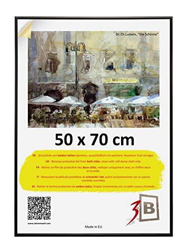3-B Bilderrahmen Foto - Fotorahmen, Kunststoffrahmen (50x 70 cm (B2), Schwarz)