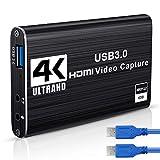 DIWUER Capturadora de Video Audio HDMI, 4K HDMI a USB3.0 Convertidor 1080P 60FPS, Edite Video Audio/Juego/Transmisin Capture para PS4, Nintendo Switch, Wii, Xbox One