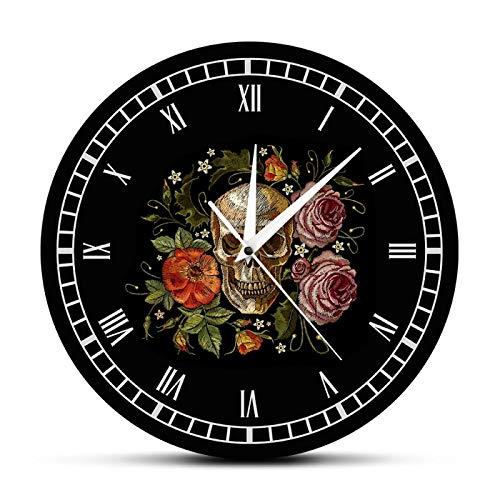 Reloj de Pared Old School Tattoo Skull Roses Impreso Death Evil Kill Killer Tattoo Parte del Cuerpo Humano Esqueleto Hueso Reloj de decoración Vintage