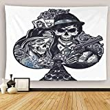 Uoopati Vintage Gun Tapestry Wall Hanging Chicano Tattoo Girl In Scary Mask Gangster Skeleton Wall Art Tapestries Tapestry for Bedroom Room Decor Picnic Mat Beach Bed Cover 50'x60'