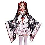 Anime Cosplay Lolita Halloween Fancy Vestido Japonés Disfraz de Kimono japonés Conjunto Completo de Pesado Cherry Blossom Cosplay Anime Traje Kimono Maid Costume Lolita Princess Vestido (Color : L)