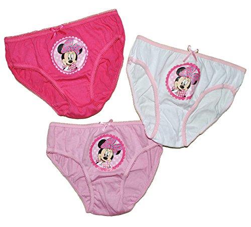 Kinder-land alles-meine.de GmbH 3 TLG. Slip / Unterhosen - Disney Minnie Mouse - Größe 4 bis 5 Jahre - Gr. 110 bis 116 - 100 % Baumwolle - für Kinder Pants Unterhose Slips Punkte Mickey ..