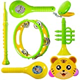 WISHKEY Colourful Plastic BPA Free Non Toxic Set of 7 Musical Instruments Rattle