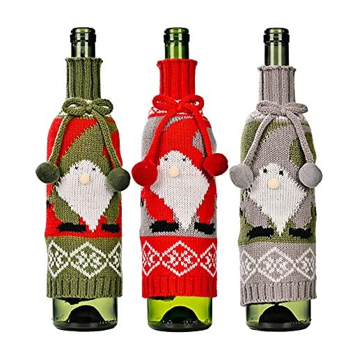 YLSZHY 3 fundas para botellas de vino de Navidad, reutilizables, con lazo y bolas de pelo, para decoración de fiestas de Navidad (sin botella de vino)