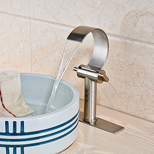 Retro Deluxe FaucetingSolid Messing Waschbecken Wasserhahn Wasserfall Auswurfkrümmer Badezimmer Waschtisch Armatur mit Abdeckplatte Nickel gebürstet Tippen