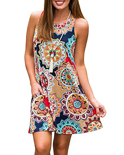 Abravo Donna Casual Vestiti Tunica Estivo Bohemian Stampa Fiore Abiti da Spiaggia Senza Maniche Elegante Mini Abito a Pieghe Vestito