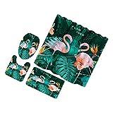 FLAMEER Juego De Cortinas De Baño De 4 Piezas, con Tapete De Baño, Alfombra De Baño, Diseño De Flamenco, Tapete De Baño De Poliéster De Calidad, Muchas F - Multicolor, Flamingo-4