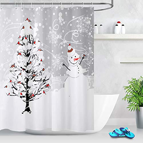 LB Winter Holiday Theme Merry Christmas Shower Curtain Snowflakes Cardinals Birds on Snowy Christmas Tree with Cute Snowman Bathroom Curtain for Kids 72x72 Inch Polyester Fabric with 12 Hooks