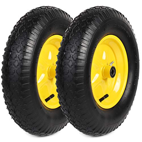 """AR-PRO (2-Pack) 4.80/4.00-8"""" Tire and Wheel Set - Universal Replacement Utility Equipment Tubed Tire and Wheel Assembly with 15.5"""" Outer Wheel Diameter, 3"""" Centered Hub, and 5/8"""" Ball Bearings"""