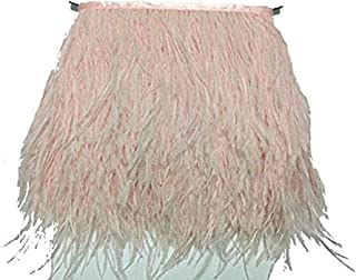 MELADY 2 Yards Fashion Dress Sewing Crafts Costumes Decoration Ostrich Feathers Trims Fringe with Satin Ribbon Tape (Light Pink)