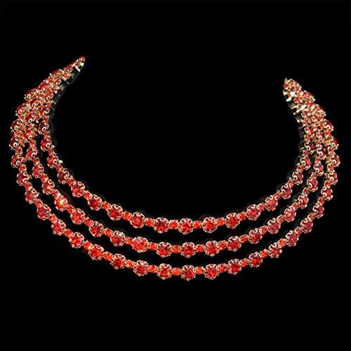 LIUL Accesorios de joyería de Moda Collar de Gargantilla roja de Diamantes de imitación de Lujo para Regalo de Temperamento de Mujer